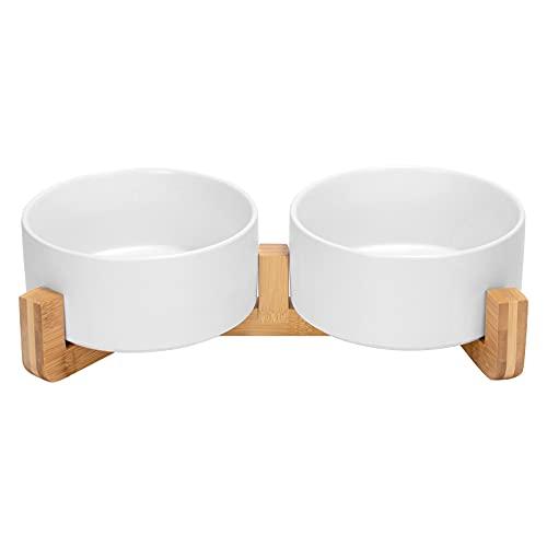 SPUNKYJUNKY Keramik Doppel Hund Futternapf mit Bambus Ständer für Katzen und Hunde (850ml, Weiß)