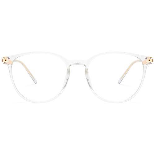 Livho Blue Light Glasses Women Men, Fashion Circle Eye Glasses for Gaming Computer Eyestrain & Headache (Clear)