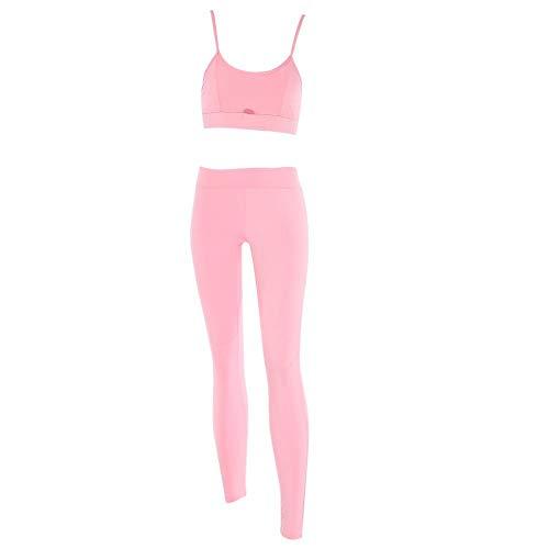 Alomejor Frauen Sport BH Hosen Set Yoga Wear Set Stretch Fitness Workout Anzug Gym BH Leggings Set(S-Rosa)