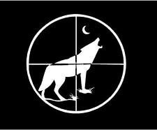 Coyote Wolf Crosshair Hunting Vinyl Decal Sticker|Cars Trucks Vans Walls Laptops|WHITE|5 In|KCD575