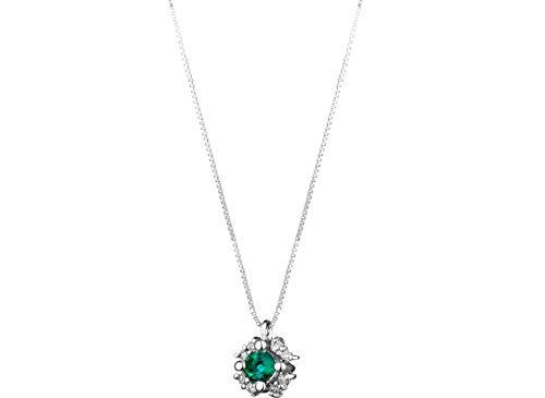 DE GIORGIO GIOIELLERIA IONDOLO Donna in Oro Bianco 18KT Diamanti E Smeraldo CT0,33 Ciondolo Smeraldo