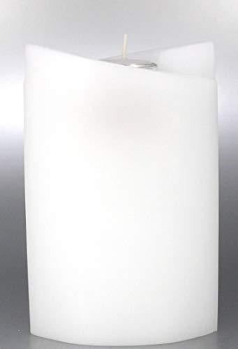 Kerze Oval, Weiß mit Teelicht für Hochzeit, Taufe 19x13 cm - 8622 - Kerzenrohling 2 Fügel Ellipse - zum Basteln und Verzieren. Lieferung mit Karton zur Aufbewahrung
