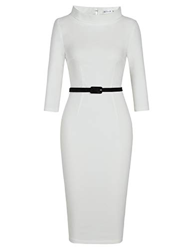MUXXN Cute Fall Ruched Neckline Tunic Tie Zipper Casual Pencil Dresses for Women (White XL)