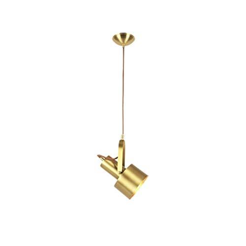 YANGHONG-Araña de estilo industrial- Chandelier de latón Nordic Bedroom Habitación Moderno Restaurante Individual LED LED Cálido Lámpara blanca Colgando de interior (Color: Luz cálida-12 * 18 * 20cm)