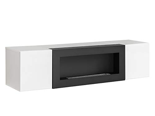 TV Lowboard mit Kamin Bioethanol Flyer SBK, TV Schrank mit 2 Türen, Kamineinsatz, Fernsehschrank, Hängeschrank, Top-Qualität, (Weiß/Weiß Hochglanz)