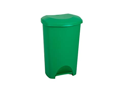 Addis 50 Litre Recycling Commercial Utility Waste Trash Pedal Bin, All Green Colour