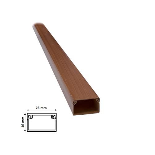 2 mt Canalina per cavi elettrica in plastica passacavi Legno Noce coprifili a parete con copertura (Dimensione 25x16 Legno Noce)