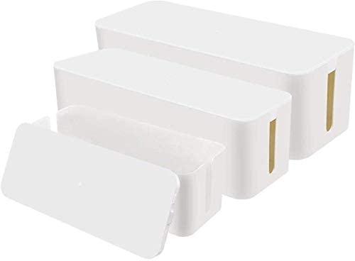 Chouky Cable Organizer Box Set of Three Power Cover Cord Holder Surge Protector for Desk White product image