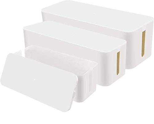 Chouky Cable Organizer Box Set of Three, Power Cover Cord Holder Surge Protector for Desk (White)