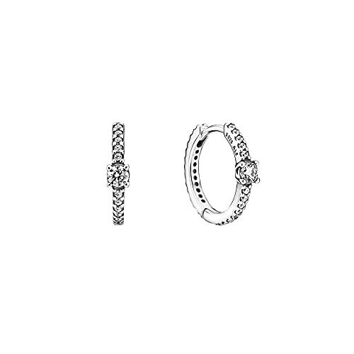 Pandora, Pendientes de aro brillantes de plata de ley con circonitas 299406C01