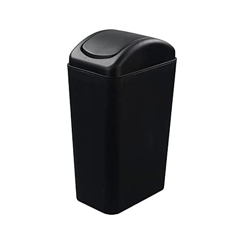 Ucake 10 L Cubo de Basura Papelera de Plástico con Tapa Basculante, Color Negro, 1 Paquete
