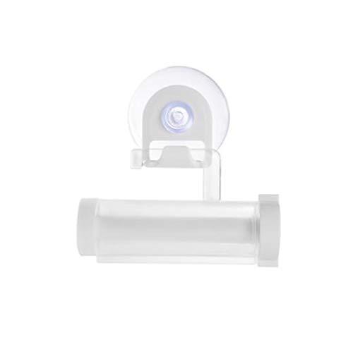 WXXT Exprimidor De Crema Dental,2 Piezas Creativa Plástico Tubo Rodante Dispensador De Crema Dental Reutilizable Baño Sucker Titular de la suspensión Gadget(Blanco)