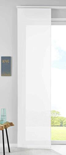 1er Set Schiebegardine Flächenvorhang Vorhang Gardine Voile HxB 245x60 cm Weiß Komplett mit Paneelwagen Beschwerungsstange, 85589N