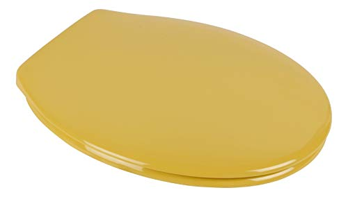 Calmwaters® Antibakterieller WC-Sitz Gelb Essential Soft, rostfreie Edelstahl-Schnell-Befestigung Fast-Fix, universale O Form, stabiler Duroplast Toilettendeckel, Curry-Gelb - 26LP2746