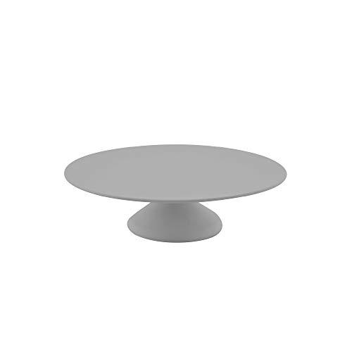 Point-Virgule Tortenplatte aus Bambus Faser mit Fuß, Deko Backzubehör für Torten oder Cupcake, Dürchmesser 30 cm, Höhe 8,5 cm, zementgrau
