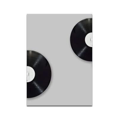 UIOLK Elementos Musicales de Estilo nórdico decoración Familiar Lienzo Pintura Blanco y Negro Simple Moderno Registro de Guitarra Retro Americano