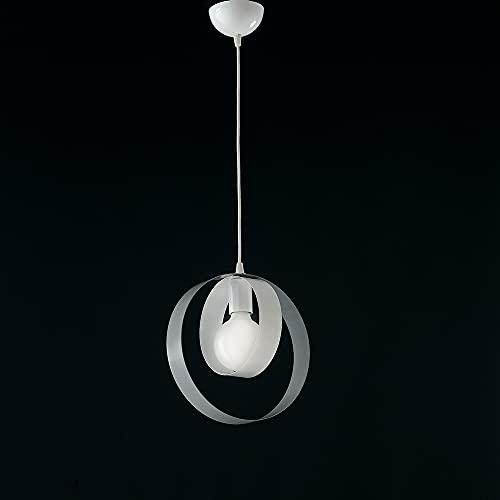 Lampadario moderno bianco e grigio sospensione 1 luce shabby chic, lampadario camera da letto, lampadario per salotto, lampadario con cerchi bon-63