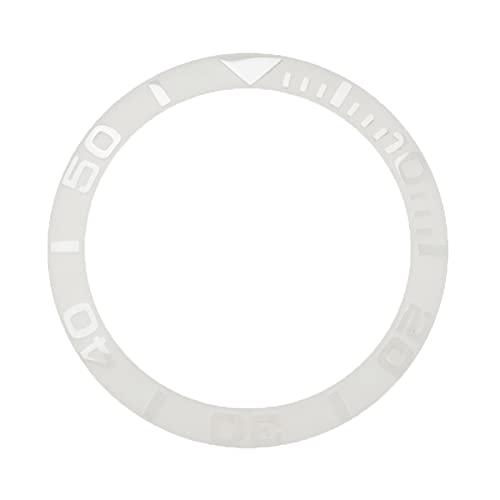 NGHSDO Reloj Bisel Anillo Relojes de Oro/Blanco Reemplazar Accesorios 38 mm Reloj Face Ceramic Bezel Insert para 40 mm Cubierta automática de Reloj para Hombre CeráMica Reloj Bisel Insertar