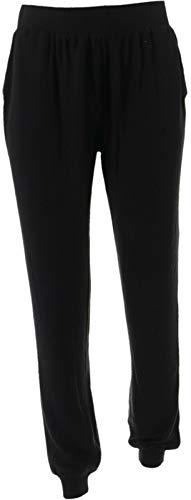 AnyBody Loungewear Brushed Hacci Jogger Pants Seam Pockets Black XL New A281197