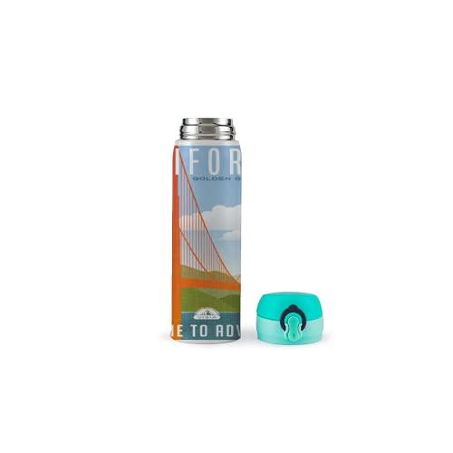 XUJIAHUI - Botella de agua con diseño de paisaje, termo aislado de acero inoxidable, para deportes, café, té, viaje, para exteriores, con bloqueo de seguridad, a prueba de fugas, 500 ml