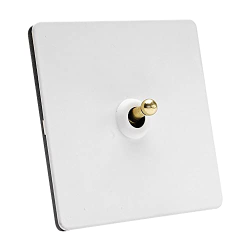 Yoaodpei Interruptor de la luz de la pared 86 Tipo retro interruptor hecho a mano Interruptor de palanca blanca 1-4 GANGS Lámpara de control de doble doble para el interruptor de Interruptor de Loft I