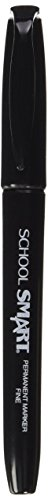 School Smart Water Resistant Fine Point Permanent Markers - Pack of 12 - Black