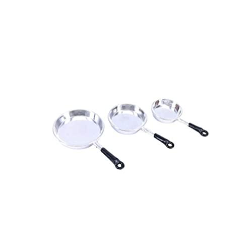 LIXBD Miniatur-Pfannen für Puppenhaus/Puppenhaus, aus Metall, Maßstab 1/12, Küchenzubehör, Spielset, silberfarben, 3 Stück