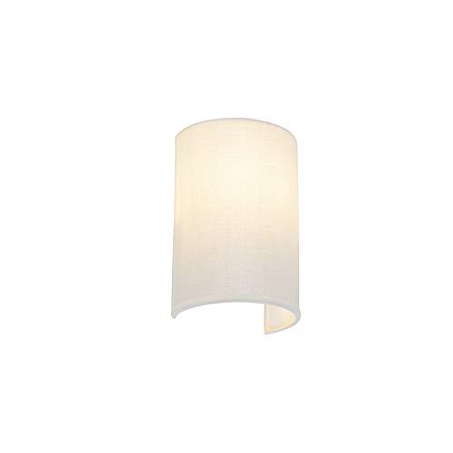 QAZQA Moderne wandlamp wit - Simple Drum Jute Staal/Stof Langwerpig/Rond Geschikt voor LED Max. 1 x 40 Watt