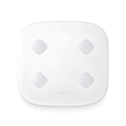 GFEI Báscula de baño Blanca, báscula de Grasa Corporal Digital WiFi, báscula inalámbrica Bmi Monitor con iOS y Aplicaciones de teléfono Inteligente Android, 400 LB