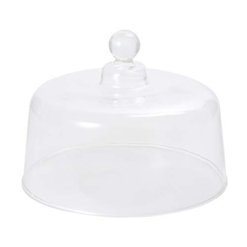 Cabilock - Campana de cristal para tarta con botón, universal, decorativa, transparente, para postres, frutas, tartas, cóncava, cúpula de cristal, pantalla de cúpula de cristal 15 x 15