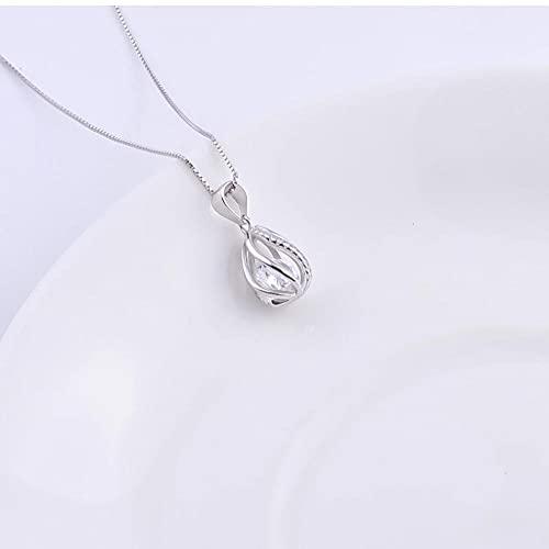 Gbrand Collar de Gota de Agua de Cristal de Plata de Ley...