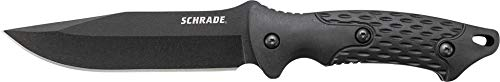 Schrade SCHF30 9.7in Stainless Steel Full Tang Fixed Blade Knife with 4.9in Clip Point Blade and TPE Handle for Outdoor Survival, Camping and Bushcraft , Black