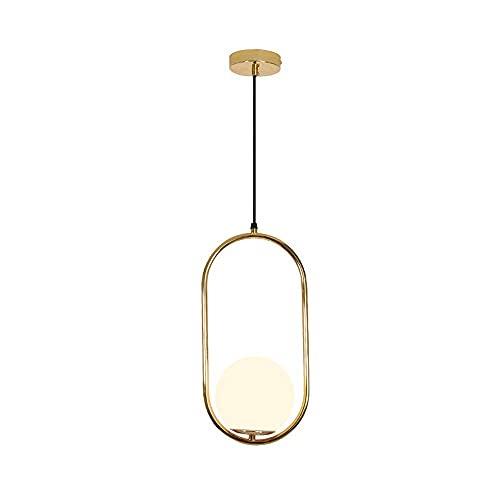 WEM Lámpara de araña decorativa novedosa, lámpara colgante posmoderna, lámpara colgante geométrica de metal dorado, pantalla de vidrio blanco, accesorios de iluminación de techo minimalistas para coc
