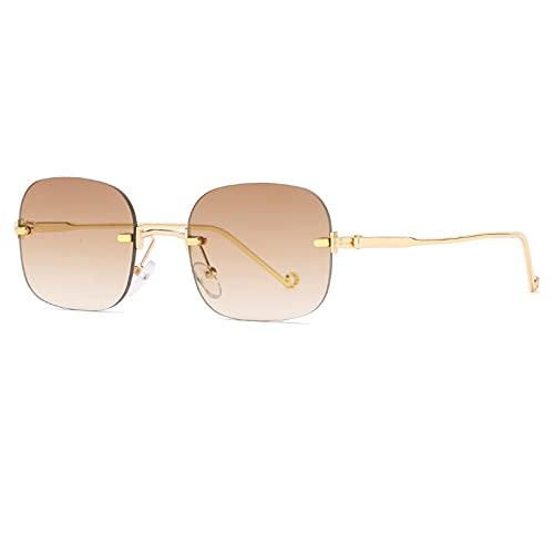 Gafas De Sol Gafas De Sol Pequeñas Sin Montura De Moda para Mujer, Gafas De Sol Cuadradas Punk Retro para Hombre, Gafas Graduadas Uv400, Gafas C3Gold-Brown
