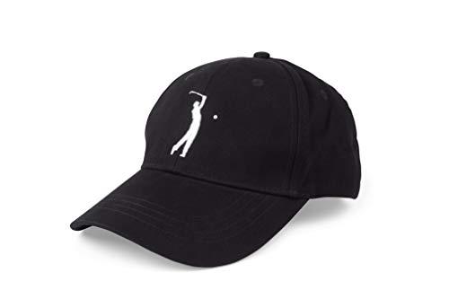 Gorra de golf negra de ajuste ajustable, material de algodón bordado, aspecto elegante, cómodo sombrero de un tamaño para todos