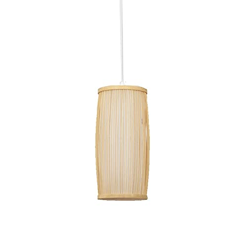 Xungzl Iluminación colgante de bambú de forma de linterna retro china, color original de madera de madera creativa araña de ratán simple, lámpara colgante de estilo rural asiático del sudeste, disposi