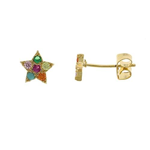 Córdoba Jewels   Pendientes en Acero bañado en oro con diseño Estrella Zirconium Colors Gold