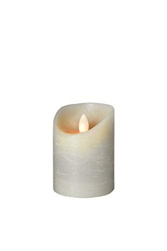 sompex Shine LED Kerze, Fernbedienbar, Timerfunktion, Multi LED Technik, Echtwachs, Ø 7,5 cm, Grau Frost, Höhe:10 cm