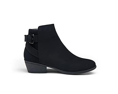 VEPOSE Women's Fall Ankle Boots Chunky Low Heels Buckle Side Zipper Western Cowboy Shoes 911 Black Nubuck Size 8(CJY911 black nubuck 08)