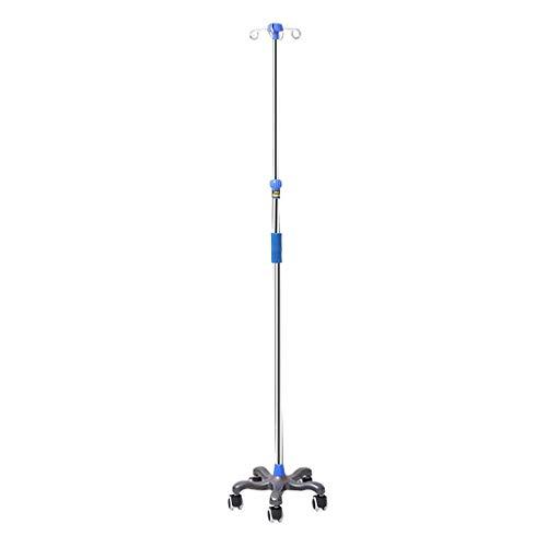Drip rack Stainless Steel IV Pole Met 4 haak en 5-Leg Base Met 5 Casters, in hoogte verstelbare infuusstandaard Dragen Fles Hanger