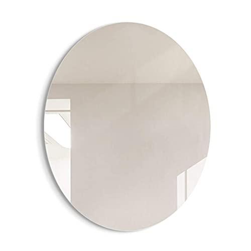 FMOGE Espejos De Tocador De Pared con Luces Espejo De Maquillaje Sin Marco Ovalado De Pared Espejo Plateado HD para Colgar Verticalmente, Adecuado para Sala De Estar/Dormitorio