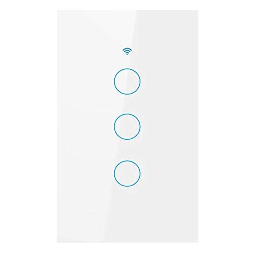 H HILABEE Interruptor de Luz Táctil de Pared Wifi Inteligente Interruptor de Atenuación de Iluminación de Control de RF/APP - Blanco 3