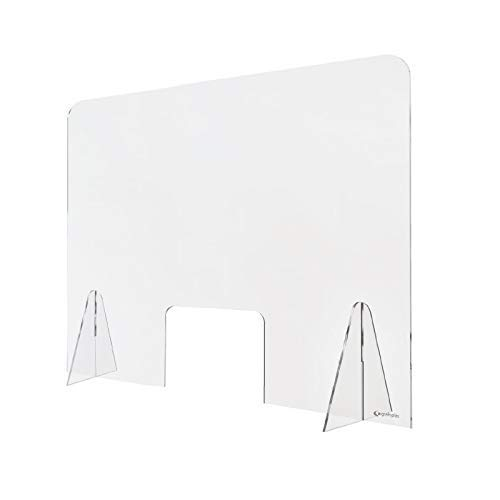 Cosmo led Mampara de metacrilato mostrador 3mm proteccion para oficinas mostradores manicura sobremesa material transparente (70X60)