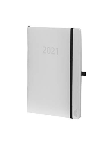 Chronoplan 50971 Buchkalender Kalendarium 2021, ca. A6 Softcover, Wochenplaner (95x140mm, 1 Woche auf 2 Seiten), weiß