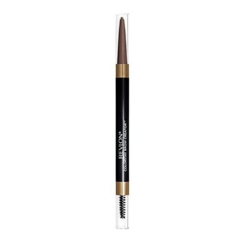 Revlon Colorstay Eyebrow Pencil Creator with Powder & Spoolie Brush to Fill, Define, Sculpt, Shape & Diffuse Perfect Brows, Grey Brown (640) 0.23 oz