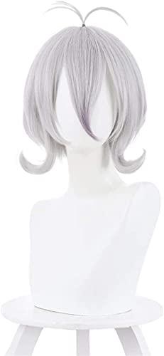 L&B-MR Pelucas Pelucas Re: Dive (Natsume Kokoro) Cosplay Anime Wig, Pelo Corto de Onda rizada, Peluca sintética Gris, para Fiesta de Fiesta