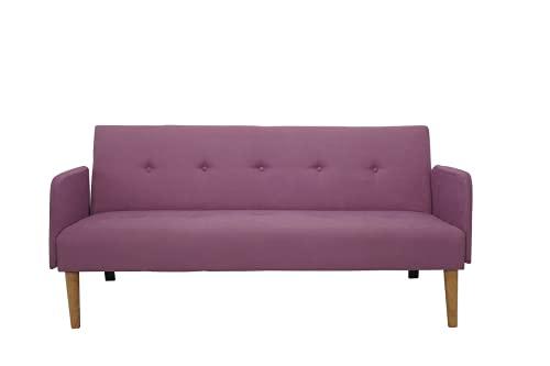Italfrom Sofá Bed violeta 173 x 85 x 83 cm con reposabrazos cama 2 plazas