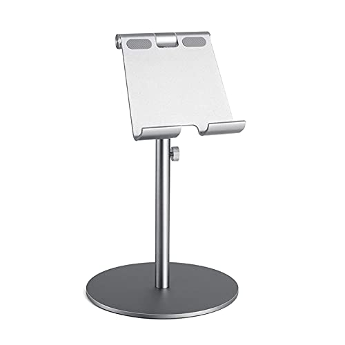 Tablero de Aluminio de rotación de 360 ° de Gran tamaño 360 °, Tableta de Aluminio Ajustable en Altura, Tableta de Escritorio para iPad Tab Kindle Nintendo Switch (4-13') (Color : Gray)