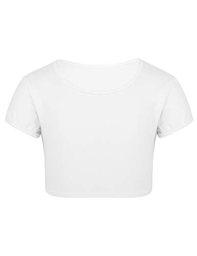 YiZYiF Camiseta de Yoga Gimnasia Tank Top Danza Ballet para Niñas Crop Top Chaleco Depotivo Ropa de Deporte Ejecicios 6-14 Años Blanco 14 Años