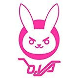 D.VA Bunny Logo Overwatch - Vinyl 6' tall (Color: HOT PINK) decal laptop tablet skateboard car windows stickers